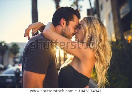 çift kaldırım gülen romantizm bagaj Stok fotoğraf © IS2