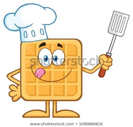 Chef carré gaufre mascotte dessinée personnage Photo stock © hittoon