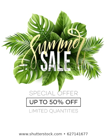 Sale banner, poster with palm leaves, jungle leaf and lettering. Floral tropical summer background,  Stock photo © ikopylov