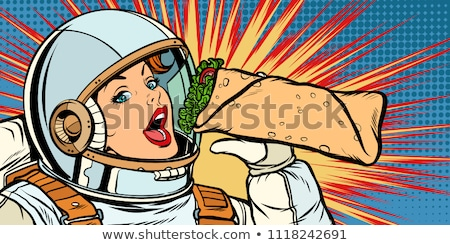 Hungry woman astronaut with Shawarma kebab Stock photo © studiostoks