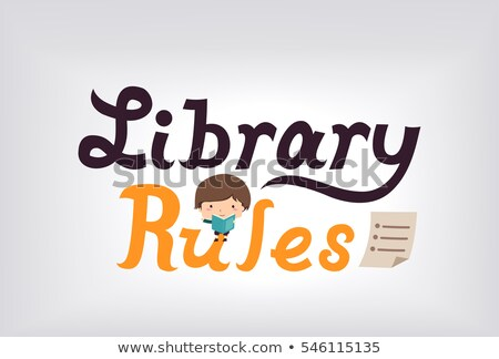 Library Rules Kid Boy Poster Stock photo © lenm