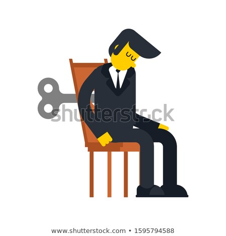 Businessman Clockwork Key. Business toy robot mechanism gear. Ve Stock photo © MaryValery