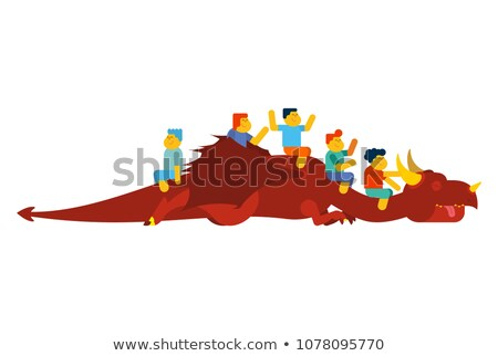 Dragon and children play horse. Kids are sitting on mythical mon Stock photo © popaukropa
