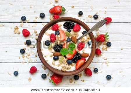 мюсли · фрукты · Ягоды · белый · продовольствие · стекла - Сток-фото © m-studio