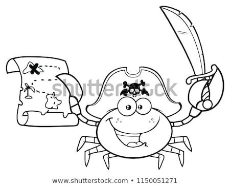 Negru alb pirat crab mascota de desene animate Imagine de stoc © hittoon
