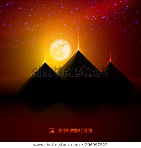 pyramid desert scene at night stock photo © bluering