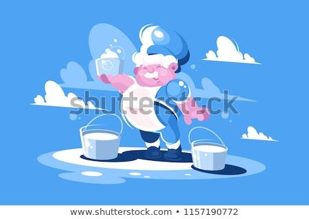 Cheerful milkman with bucket milk Stock photo © jossdiim