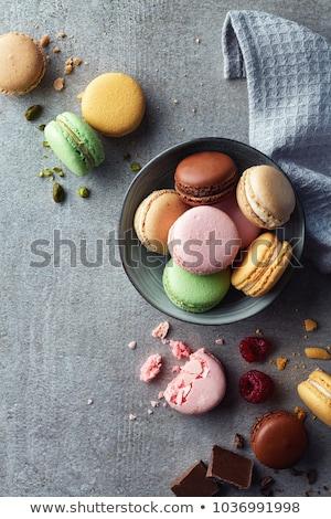 Delicious macarons pastries on marble Stock photo © dash