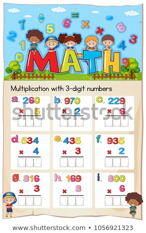 Math worksheet for multiplication with three digit numbers Stock photo © colematt