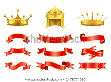 Stock photo: Gold crown with jewel, helmet and red ribbons set
