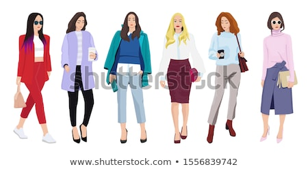 set of women dressed in stylish trendy clothes stock photo © marysan