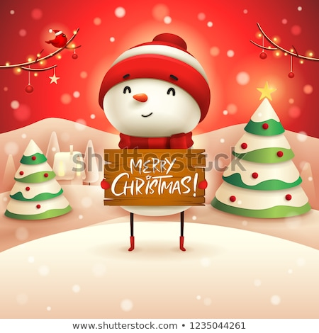 Merry Christmas! Cheerful snowman holds wooden board sign in Chr Stock photo © ori-artiste
