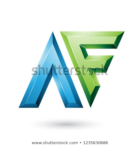 Stock photo: Blue and Green Glossy Dual Letters of Letters A and F Vector Ill