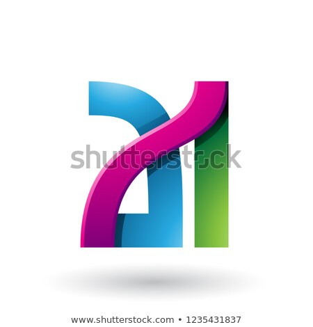 Blue and Magenta Bold Dual Letters A and I Vector Illustration Stock photo © cidepix