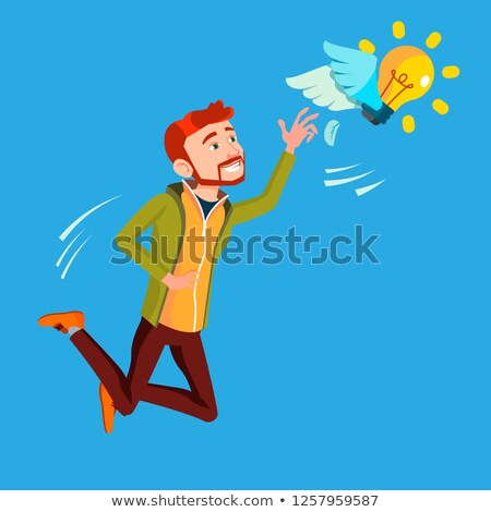 businessman jumps and tries to catch idea vector yellow light bulb flying on wings illustration stock photo © pikepicture