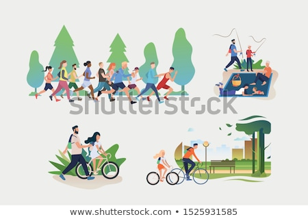 people in park posters set vector illustration stock photo © robuart