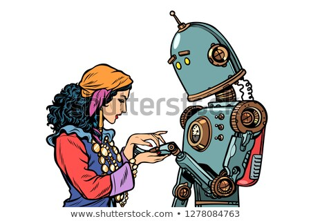A Gypsy telling fortunes by the hand. The robot wants to know ab Stock photo © studiostoks