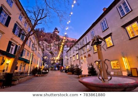 Graz city center christmas fair evening view Stock photo © xbrchx