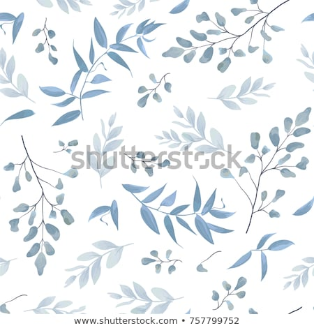 Natural pattern of leaves of ferns on a blue background with copy space. Foliage layout. Flat lay Stock photo © artjazz