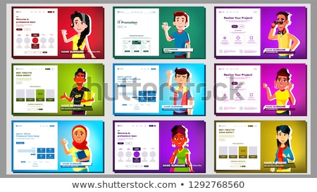 self presentation banner set vector multiracial person female male introduce yourself or your pr stock photo © pikepicture