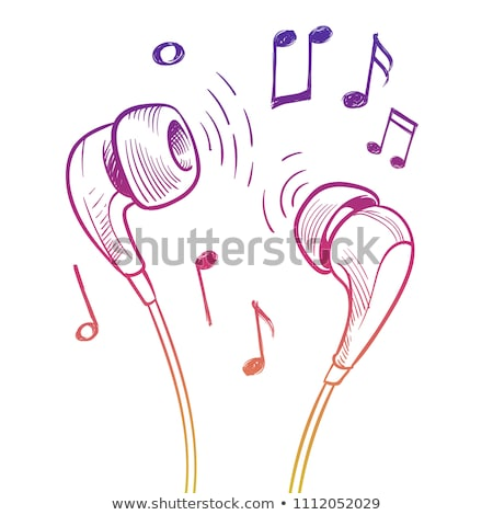 headphones music musical patches stickers icons stock photo © robuart