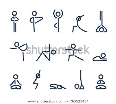 yoga · fitness · boom · pose · icon · ontwerp - stockfoto © WaD