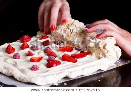 The process of cooking Pavlova cake  Stock photo © dashapetrenko