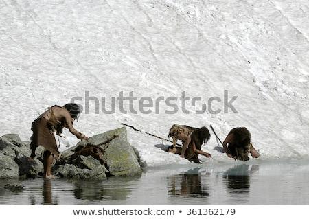 каменные возраст люди пару пустыне женщину Сток-фото © colematt