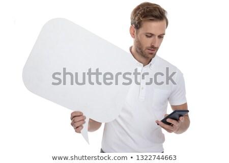 üzletember · olvas · sms · izolált · fehér · kéz - stock fotó © feedough