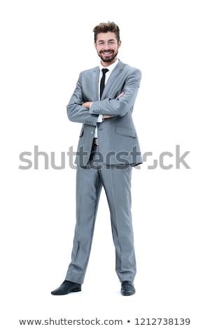 Retrato homem maduro em pé branco sorrir cabelo Foto stock © Lopolo