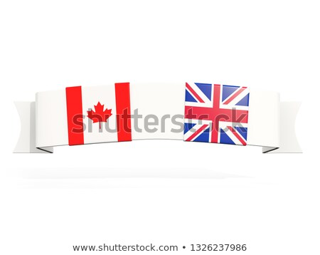 Banner with two square flags of canada and UK Stock photo © MikhailMishchenko