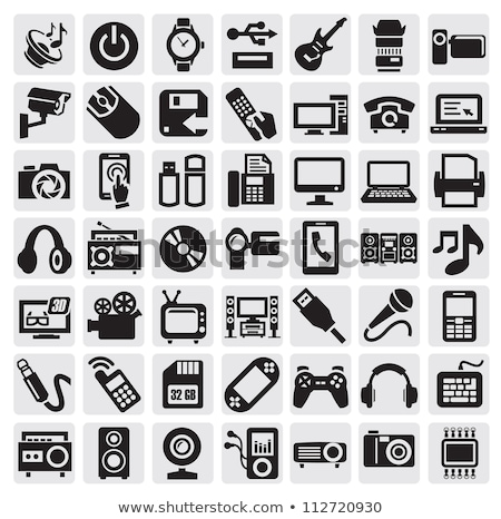 icon · draagbaar · foto · flash · zwart · wit · technologie - stockfoto © angelp