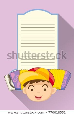 бумаги шаблон мальчика аккордеон иллюстрация ребенка Сток-фото © colematt
