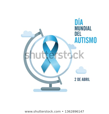 Blue autism ribbon with spanish text and globe. International autism awareness day Stock fotó © Imaagio