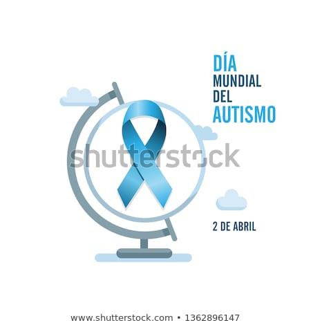 Mavi otizm şerit İspanyolca metin dünya Stok fotoğraf © Imaagio