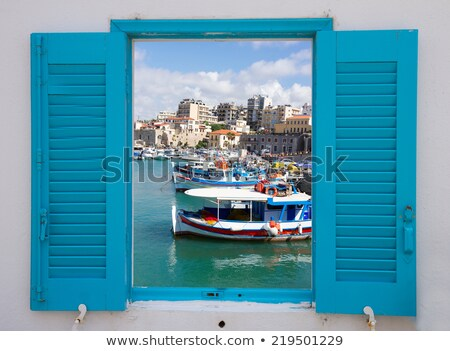 window with old port of Heraklion, Crete, Greece Stok fotoğraf © neirfy