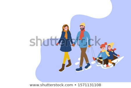 Mother and Father with Sledges and Children Web Stock photo © robuart