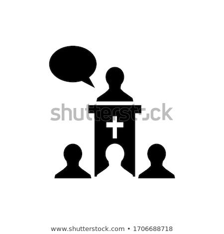 Hombre ilustración detrás iglesia negro Foto stock © lenm