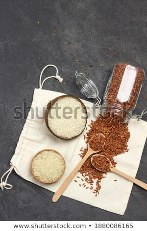 cuchara · de · madera · bolsa · crudo · orgánico · basmati - foto stock © DenisMArt