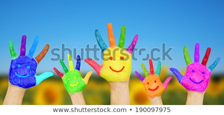 Zdjęcia stock: Social Network Concept Of Happy Group Of Finger Faces With Spee