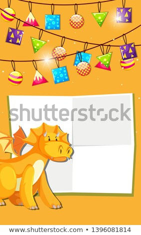 黄色 恐竜 お祝い 背景 フレーム 壁紙 ストックフォト © bluering