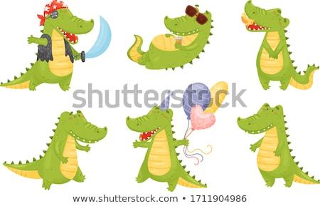 Szett krokodil karakter illusztráció háttér zöld Stock fotó © colematt