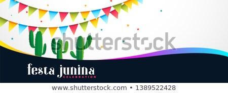 Wakacje banner Kaktus roślin taniec kolor Zdjęcia stock © SArts