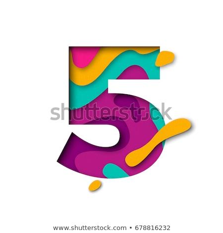 カラフル フォント 番号 5 3D ストックフォト © djmilic