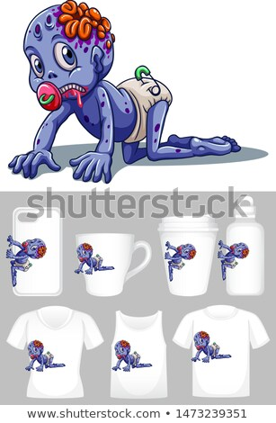 Graphic of baby zombie on different types of product template Stock photo © bluering