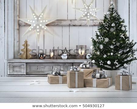 Stock foto: Weihnachten · Dekor · Kamin · Weihnachtsbaum · Haus · Feuer