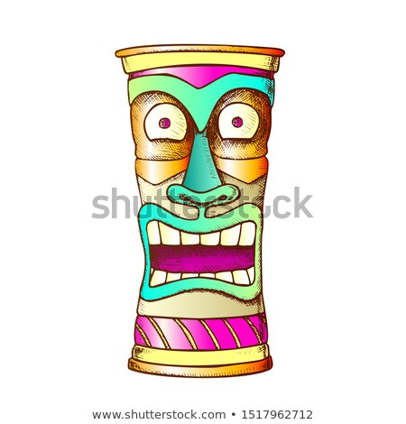 Tiki Idol Carved Wood Crazy Laugh Totem Ink Vector Stock photo © pikepicture