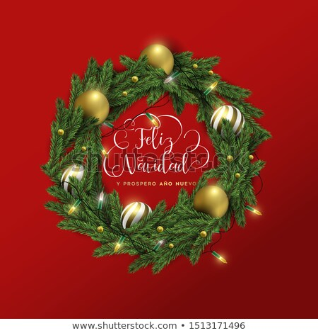 Christmas and new year spanish red 3d wreath card Stock photo © cienpies
