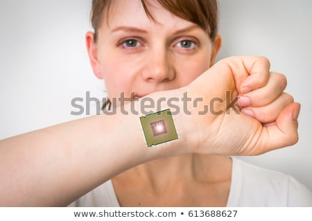 feminino · implantar · pensando · computador · lasca · cabeça - foto stock © andreypopov