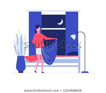 Neat woman making bed flat vector illustration Stock photo © Decorwithme